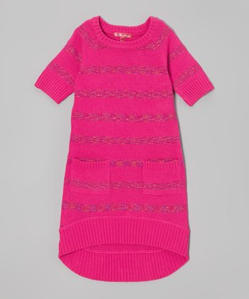 Lollipop Pink Shimmer Stripe Sweater Dress - Toddler
