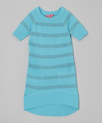 Bluebell Shimmer Stripe Sweater Dress - Toddler