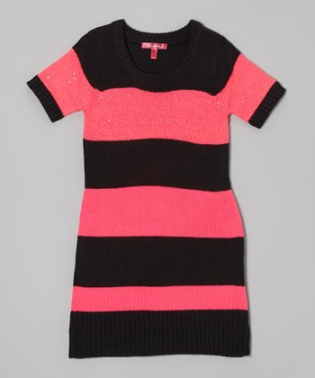 Knockout Pink & Black Stripe Sweater Dress - Girls
