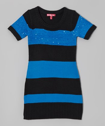 Electric Blue & Black Stripe Sweater Dress - Girls