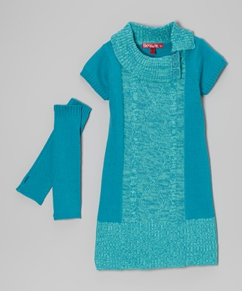 Mermaid Marled Split-Neck Dress & Arm Warmers - Toddler & Girls