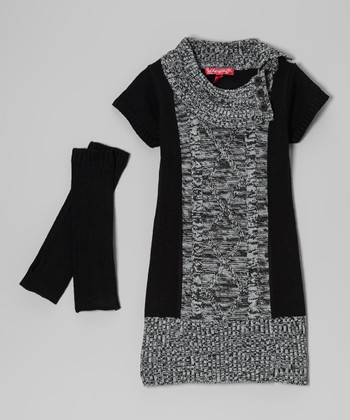 Black Marled Split-Neck Dress & Arm Warmers - Toddler & Girls