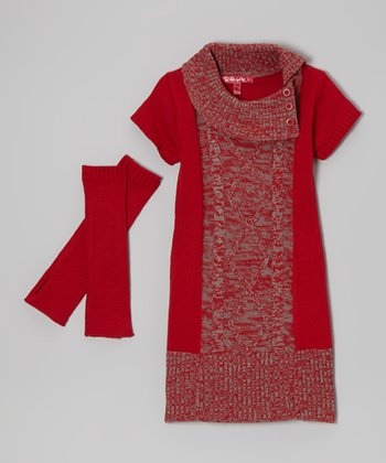 Chili Red Marled Split-Neck Dress & Arm Warmers - Toddler & Girls
