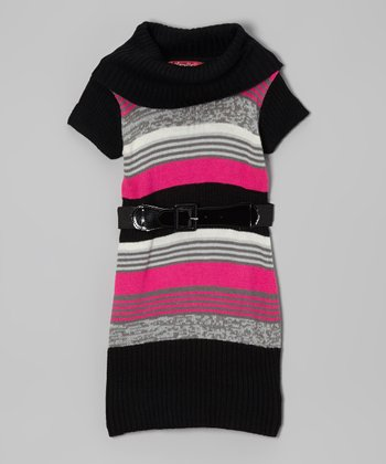 Lollipop Pink Stripe Belted Cowl Neck Dress - Girls