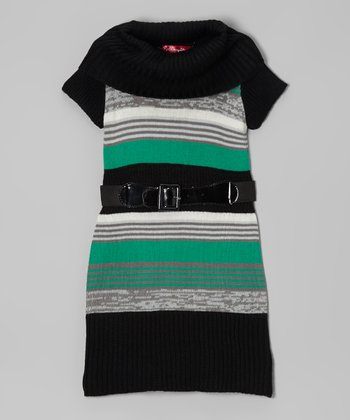 Lily Pad Stripe Belted Cowl Neck Dress - Girls