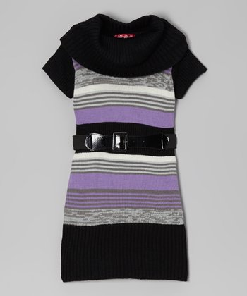 Purple Moon Stripe Belted Cowl Neck Dress - Girls