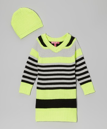 Safety Yellow Stripe V-Neck Sweater Dress & Beanie - Girls