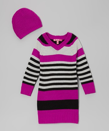 Very Berry Stripe V-Neck Sweater Dress & Beanie - Girls