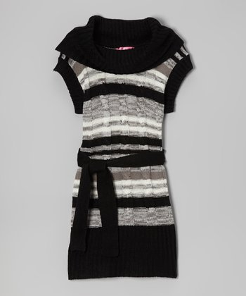 Black & Gray Belted Cowl Neck Dress - Toddler