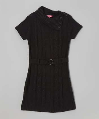 Black Belted Split-Neck Sweater Dress - Girls