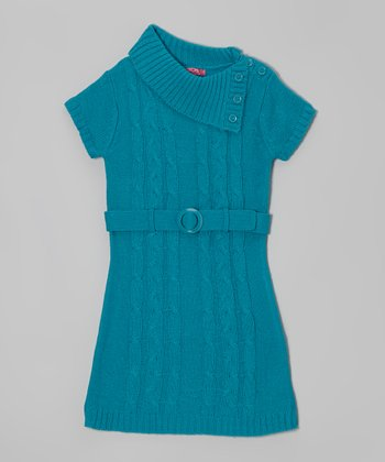 Mermaid Belted Split-Neck Sweater Dress - Girls