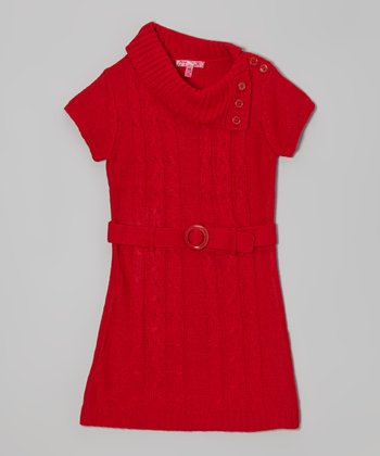 True Red Belted Split-Neck Sweater Dress - Girls