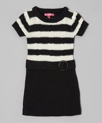 Antique Ivory & Black Belted Sweater Dress - Girls