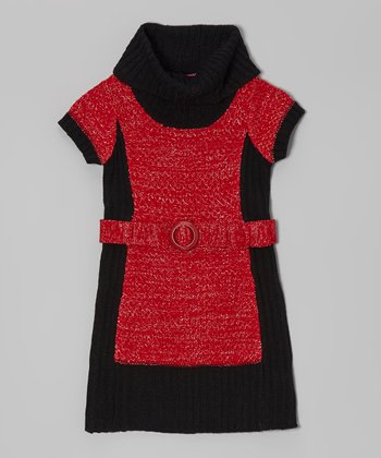 Chili Red & Black Color Block Belted Dress - Girls