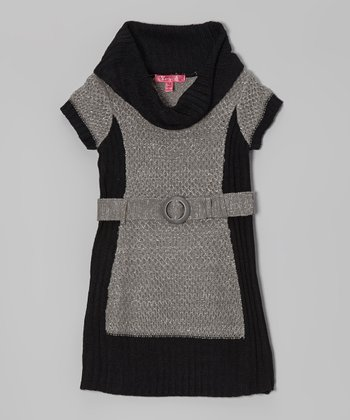 Gray & Black Color Block Belted Dress - Girls