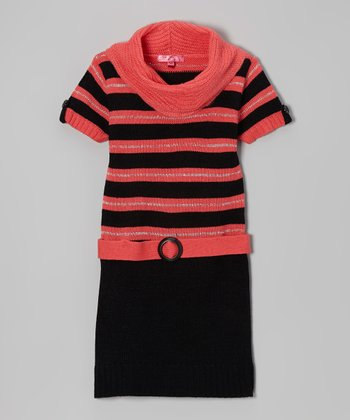 Cinnamon Sugar & Black Stripe Cowl Neck Dress - Girls