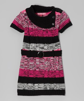 Lollipop Pink Stripe Belted Split-Neck Dress - Infant