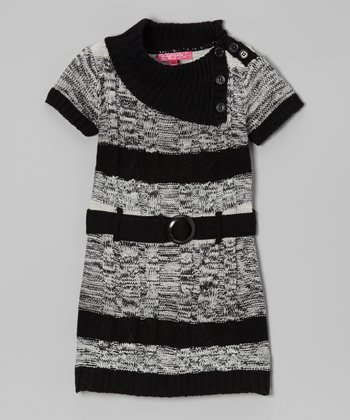 High Rise Stripe Belted Split-Neck Dress - Girls
