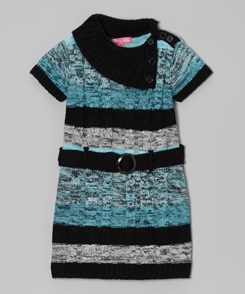 Bluebell Stripe Belted Split-Neck Dress - Infant & Girls