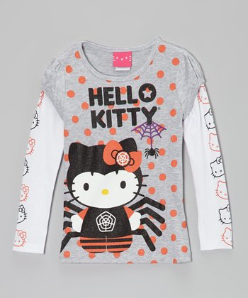 Heather Gray Spider 'Hello Kitty' Layered Tee - Girls