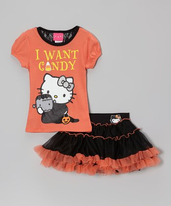 Papaya 'I Want Candy' Hello Kitty Tee & Pettiskirt - Girls