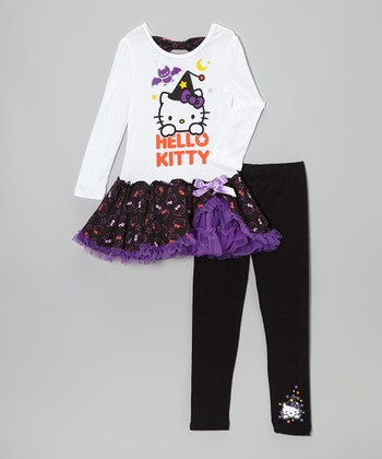 White & Purple 'Hello Kitty' Tutu Dress & Black Leggings - Girls