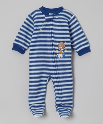 Navy Blue Stripe Footie - Infant & Toddler