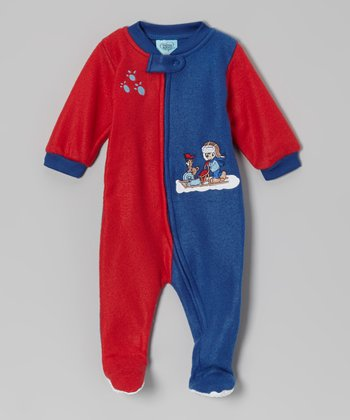Red & Blue Paw Print Footie - Infant & Toddler