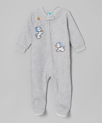 Heather Gray Puppy Footie - Infant & Toddler