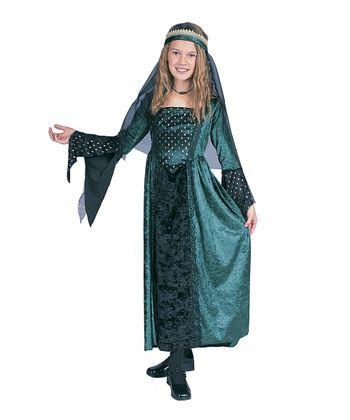 RG Costumes Green Renaissance Girl Dress-Up Set - Kids