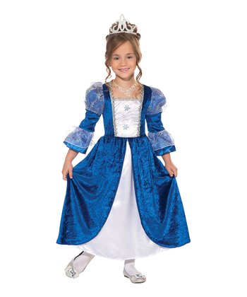 Blue & White Frost Princess Dress - Toddler & Girls