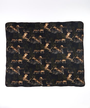 Navy & Green Deer Soft Touch Blanket