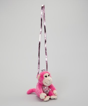 Pink & Silver Monkey Crossbody Bag