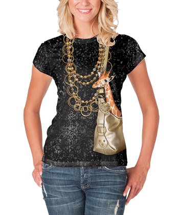 Black Mini Giraffe in Purse Tee - Women
