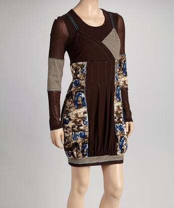 Brown & Blue Stripe Abstract Layered Dress