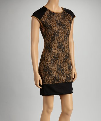 Mocha & Black Floral Lace Cap-Sleeve Dress