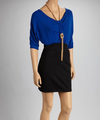 Blue & Black Color Block Necklace Dress