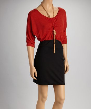 Red & Black Color Block Necklace Dress