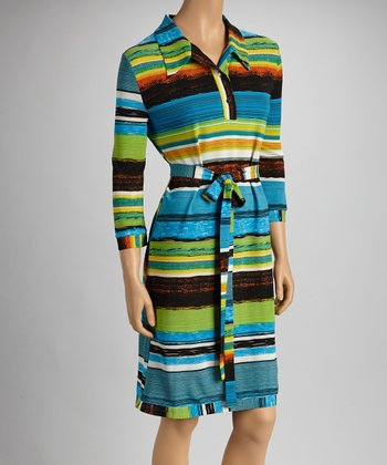 Blue & Green Stripe Sash-Tie Dress