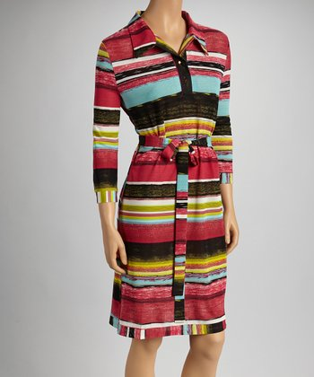 Fuchsia & Yellow Stripe Sash-Tie Dress
