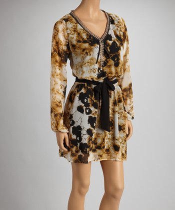 Yellow Abstract Sash-Tie Long-Sleeve Dress