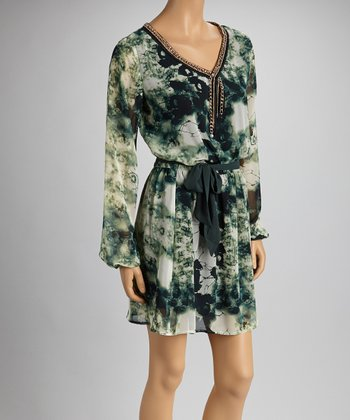 Green Abstract Sash-Tie Long-Sleeve Dress