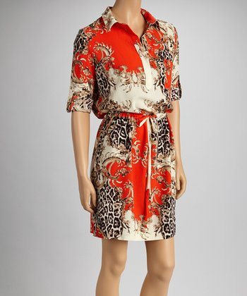 Orange Leopard Arabesque Drawstring Shirt Dress