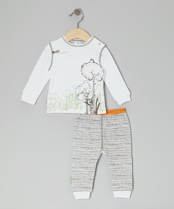 Natural 'It's My Planet 2' Organic Long-Sleeve Tee & Pants - Infant