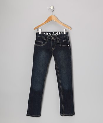 Dark Blue Wash Straight-Leg Jeans - Boys