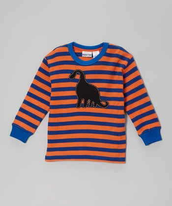 Orange & Blue Stripe Dino Tee - Toddler & Boys