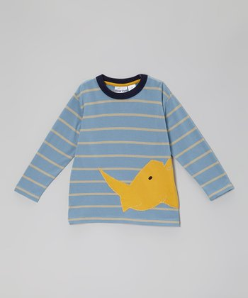 Blue & Yellow Stripe Rhino Tee - Toddler & Boys
