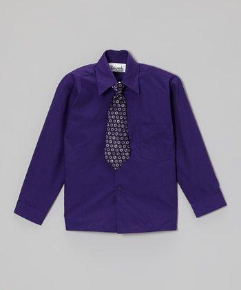 ClassyKidzShop Purple Button-Up & Tie - Toddler & Boys
