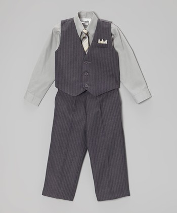 Gray Pinstripe Vest Set - Infant, Toddler & Boys