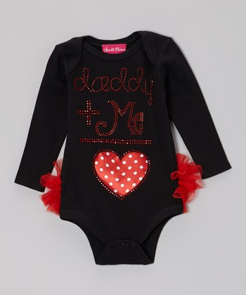 Black 'Daddy + Me = Love' Ruffle Bodysuit - Infant